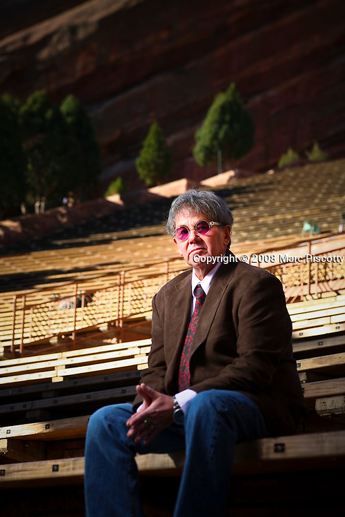 SHOT 10/29/08 9:59:09 AM - AEG Live president and CEO of the Rocky Mountain Region Chuck Morris poses for a portrait at Red Rocks in Morrison, Co. Morris opened and operated legendary venues such as Tulagi's, Ebbets Field and the Fillmore Auditorium in Denver. Morris was also in charge of entertainment for the 2008 Democratic National Convention. .(Photo by Marc Piscotty / © 2008)