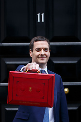 © Licensed to London News Pictures. 16/03/2016. London, UK. Chancellor of the Exchequer GEORGE OSBORNE posing for photographers outside 11 Downing Street before presenting his budget to Parliament on Wednesday, 16 March 2016. Photo credit: Tolga Akmen/LNP