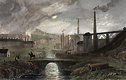 Nant-y-Glow Iron Works, Monmouthshire, Wales: proprietor Richard Crawshay (1739-1810). Hand-coloured engraving c1830 after watercolour by George Robertson c1788, showing the scene by moonlight. Buildings on left probably Puddling furnaces, those on the right Blast furnaces.