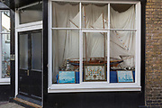 Sailing yacht window on Ramsgate's Addington Street, on 8th January 2019, in Ramsgate, Kent, England. The Port of Ramsgate has been identified as a 'Brexit Port' by the government of Prime Minister Theresa May, currently negotiating the UK's exit from the EU. Britain's Department of Transport has awarded to an unproven shipping company, Seaborne Freight, to provide run roll-on roll-off ferry services to the road haulage industry between Ostend and the Kent port - in the event of more likely No Deal Brexit. In the EU referendum of 2016, people in Kent voted strongly in favour of leaving the European Union with 59% voting to leave and 41% to remain.