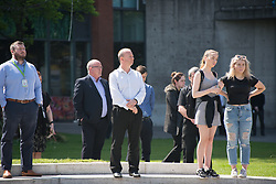 May 25, 2017 - Manchester, England, United Kingdom - People participate in a minute silence, to remember the victims of the bombing of the Manchester Arena, in central Manchester, United Kingdom on Thursday, May 25th, 2017. Greater Manchester Police are treating the explosion after the Ariana Grande concert, which took place on 05/22/2017 at Manchester Arena, as a terrorist incident. (Credit Image: © Jonathan Nicholson/NurPhoto via ZUMA Press)