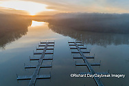 63895-16912 Boat Docks at sunrise in fog Stephen A. Forbes State Park-aerial-Marion Co. IL