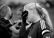 Greeneville senior goal keeper Hannah Leonard tries to conceal her disappointment  as White House wins 1-0 in the Class AA state soccer championship Saturday at Richard Siegel Soccer Complex in Murfreesboro, Tenn.