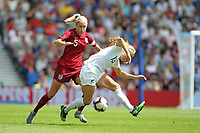Football - 2019 Womens International Friendly - England Women vs. New Zealand Women<br /> <br /> Englands Steph Houghton wins the ball from Rosie White of New Zealand during the final Lionesses warm up fixture at The Amex Stadium Brighton England<br /> <br /> COLORSPORT/SHAUN BOGGUST