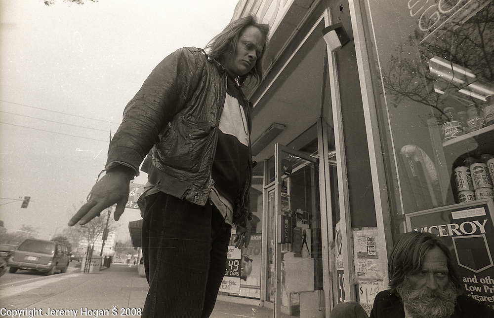 Skip Spence, right, visited by a friend from the streets, hangs out asking for spare change in early March 1994 in Downtown San Jose, Calif. Skip Spencer was once the drummer from Jefferson Airplane and the leader of the influential band Moby Grape. At age 21 Spencer had a nervous breakdown and spent the next three decades in and out of mental institutions and half way houses. In the 1960s Spence, who was often called Spencer, was friends with many in the San Francisco rock scene including Janis Joplin.