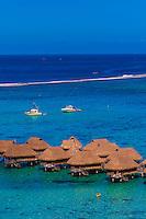 Overview of Hotel Sofitel Moorea Ia Ora Beach Resort, island of Moorea, French Polynesia.