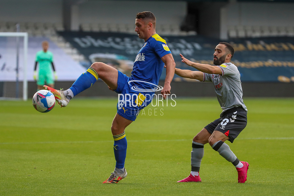 AFC Wimbledon midfielder Anthony Hartigan (8) controlling the ball during the EFL Trophy Group O match between AFC Wimbledon and Charlton Athletic at the Kiyan Prince Foundation Stadium, London, England on 1 September 2020.