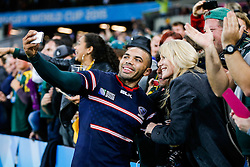 South Africa Winger Bryan Habana takes selfies with supporters after scoring 3 tries in the match to draw level with Jonah Lomu at the top of the all time list on 15 Rugby World Cup tries - Mandatory byline: Rogan Thomson/JMP - 07966 386802 - 07/10/2015 - RUGBY UNION - The Stadium, Queen Elizabeth Olympic Park - London, England - South Africa v USA - Rugby World Cup 2015 Pool B.