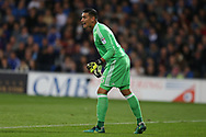 Neil Etheridge, the Cardiff City goalkeeper in action. EFL Skybet championship match, Cardiff city v Leeds Utd at the Cardiff city stadium in Cardiff, South Wales on Tuesday 26th September 2017.<br /> pic by Andrew Orchard, Andrew Orchard sports photography.