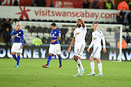 Ashley Williams of Swansea city  waves to the fans at the end of the match. Barclays Premier league match, Swansea city v Leicester city at the Liberty stadium in Swansea, South Wales on Saturday 25th October 2014<br /> pic by Andrew Orchard, Andrew Orchard sports photography.