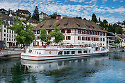"""Rhine River cruise boat """"Untersee und Rhein"""" in Schaffhausen, Switzerland, Europe."""