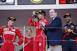 May 28, 2017 - Monte Carlo, Monaco - Motorsports: FIA Formula One World Championship 2017, Grand Prix of Monaco, .#7 Kimi Raikkonen (FIN, Scuderia Ferrari), #5 Sebastian Vettel (GER, Scuderia Ferrari), Prince Albert II of Monaco  (Credit Image: © Hoch Zwei via ZUMA Wire)