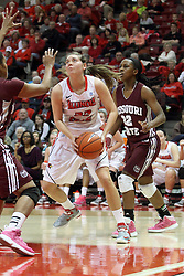 03 March 2013:  Alison Seberger and Tyonna Snow during an NCAA Missouri Valley Conference (MVC) women's basketball game between the Missouri State Bears and the Illinois Sate Redbirds at Redbird Arena in Normal IL