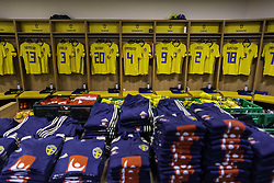 November 20, 2018 - Stockholm, SWEDEN - 181120 General view of team Sweden's dressing room prior to the Nations League football match between Sweden and Russia on November 20, 2018 in Stockholm. Jerseys for Gustav Svensson, Victor Nilsson LindelÅ¡f, Kristoffer Olsson, Andreas Granqvist, Marcus Berg, Mikael Lustig and Robin Quaison can be seen..Photo: Joel Marklund / BILDBYRN / kod JM / 87811 (Credit Image: © Joel Marklund/Bildbyran via ZUMA Press)