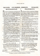 Publication in the Netherlands of a French and Dutch version of the Proclamation of rights in the aftermath of the French Revolution. Circa 1789-94.