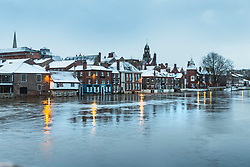 © Licensed to London News Pictures. 08/02/2021. York UK. Riverside properties in York city centre are covered in snow & surrounded by flood water this morning as Storm Darcy continues to batter the uk. Photo credit: Andrew McCaren/LNP