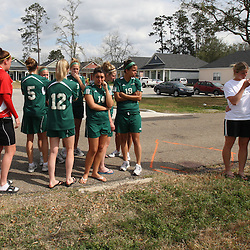 (Shot on March 6, 2009) Members of the Southeastern University Girls Soccer team gather Friday afternoon in a in support of fellow students that were killed while walking home shortly after 2:00am on the morning of March 6, 2008 on Nashville Street in Hammond, Louisiana after a drunk driver hit five students killing three and critically injuring one and leaving one student with minor injuries, the driver identified as 21-year-old Derek Quebedeaux also a Southeastern student was arrested by Hammond Police.. (Photo by: Derick Hingle)