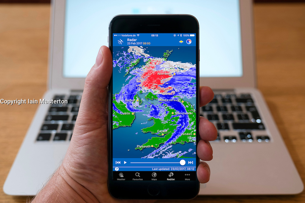 Met Office app showing radar image of storm Doris in United Kingdom on smart phone screen.