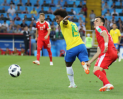 June 27, 2018 - Moscow, Russia - June 27, 2018, Russia, Moscow, FIFA World Cup 2018, First round, Group D, Third round. Football match Serbia - Brazil at the stadium of Spartak. Player of the national team Willian; Philip Kostic. (Credit Image: © Russian Look via ZUMA Wire)