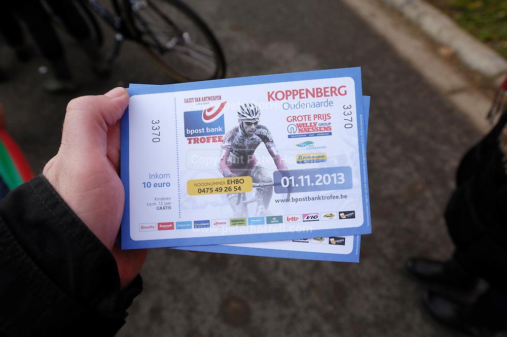 Thursday 31 October 2013: A pair of Koppenbergcross 2013 tickets. Copyright 2013 Peter Horrell
