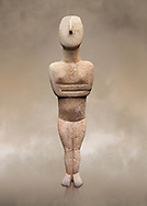 Cycladic Canonical type, Spedos variety female figurine statuette. Early Cycladic Period II, (2800-2300 BC), 'Steiner Master'.  Museum of Cycladic Art Athens, cat no 654
