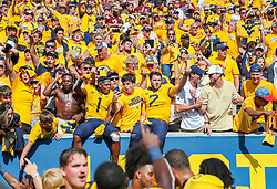 Sep 18, 2021; Morgantown, West Virginia, USA; West Virginia Mountaineers wide receiver Winston Wright Jr. (1) and West Virginia Mountaineers quarterback Jarret Doege (2) celebrate with fans after defeating the Virginia Tech Hokies at Mountaineer Field at Milan Puskar Stadium. Mandatory Credit: Ben Queen-USA TODAY Sports