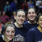 Breanna Stewart, (center), and  Katie Lou Samuelson (center, left) with team mates at the trophy presentation during the UConn Huskies Vs USF Bulls 2016 American Athletic Conference Championships Final. Mohegan Sun Arena, Uncasville, Connecticut, USA. 7th March 2016. Photo Tim Clayton