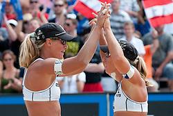 Sara Montagnolli and Barbara Hansel of Austria at A1 Beach Volleyball Grand Slam tournament of Swatch FIVB World Tour 2010, semifinal, on July 31, 2010 in Klagenfurt, Austria. (Photo by Matic Klansek Velej / Sportida)