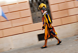 May 6, 2017 - Vatican City, Vatican City, Vatican - Swiss guards attend a swearing-in ceremony in Vatican City, on May 6, 2017. The annual swearing in ceremony for the new papal Swiss guards takes place on May 6, commemorating the 147 who died defending Pope Clement VII on the same Day in 1527. (Credit Image: © Andrea Franceschini/Pacific Press via ZUMA Wire)