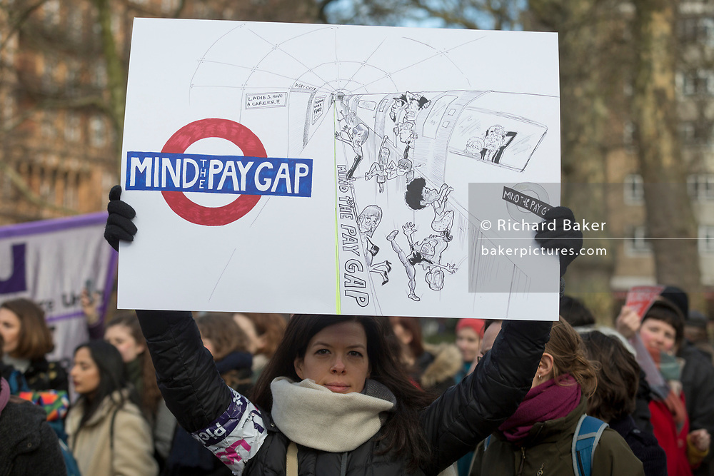 London UK, 8th March 2018: Women meet in Russell Square, to celebrate International Womens' Day, on 8th March 2018, in Russell Square, London, England. Richard Baker / Alamy Live News