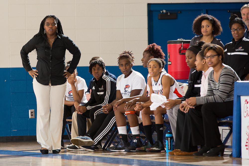 Dec. 3, 2014; Morrow, GA, USA; CSU's head coach Kaleena Coleman in action against Fort Valley State at CSU. Clayton State won 87-73. Photo by Kevin Liles / kevindliles.com