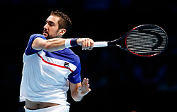 Marin Cilic during his match against Jack Sock during day three of the NITTO ATP World Tour Finals at the O2 Arena, London.