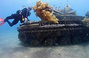 Divers at a sunken tank off the cost of Aqaba, Red Sea Jordan