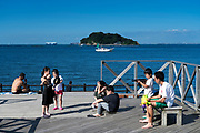 children palying at Umikaze park, Yokosuka with Tokyo Bay and Sarushima Island