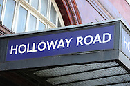 General view of Holloway Road Underground station sign. Premier league match, Arsenal v Middlesbrough at the Emirates Stadium in London on Saturday 22nd October 2016.<br /> pic by John Patrick Fletcher, Andrew Orchard sports photography.