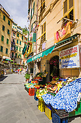 Shops and restaurants in Riomaggiore, Cinque Terre, Liguria, Italy