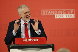 © Licensed to London News Pictures. 20/04/2017. London, UK. Labour Party leader JEREMY CORBYN delivers his first election campaign speech at Church House - where the Church of England  General Synod usually meet -<br />  in Westminster, London.. Campaigning has begun for a snap election which was called by British Prime Minister Theresa May, earlier this week. Photo credit: Peter Macdiarmid/LNP