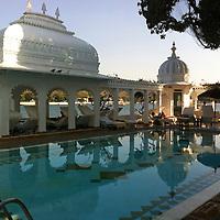 Asia, India, Udaipur. Terrace pool at the Taj Lake Palace Hotel.