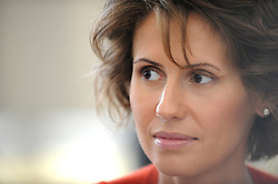 File photo - Syrian head of state Bashar al-Assad and London-born wife Asma al-Assad appear to live in a surreal psychological bubble, insulated from the grotesque violence that has claimed the lives of 8,000 Syrians, according to a cache of some 3,000 alleged emails and documents obtained by Syrian activists and published by the Guardian issue dated March 15, 2012. File photo : Syrian First Lady Asma Al Assad meets with students and teachers as she visits Vienna Business School in Vienna, Austria, on April 28, 2009. The Syrian presidential couple is on a 2 day visit to Austria. Syria's British-born first lady Asma Assad has begun treatment for breast cancer. The Syrian presidency posted on its Facebook page a photo of President Bashar Assad sitting next to his wife in a hospital room. Photo by Ammar Abd Rabbo/ABACAPRESS.COM