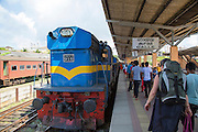 Platform and train railway station, Galle , Sri Lanka, Asia
