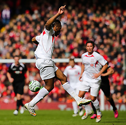 Dider Drogba flicks the ball - Photo mandatory by-line: Matt McNulty/JMP - Mobile: 07966 386802 - 29/03/2015 - SPORT - Football - Liverpool - Anfield Stadium - Gerrard's Squad v Carragher's Squad - Liverpool FC All stars Game