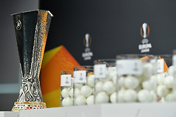 NYON, SWITZERLAND - Monday, December 14, 2020: The UEFA Cup trophy on display during the UEFA Europa League 2020/21 Round of 32 draw at the UEFA Headquarters, the House of European Football. (Photo Handout/UEFA)