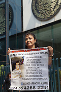 Mothers of dissapeared people begin a hunger strike in front of the General Attorney of the Republic building  in Mexico City on  May 9th, demanding  investigation of their cases of sons and other people disappeared, most of them with violence, during the past administration of Felipe Calderón Hinojosa..PICTURED: Alicia Trejo Trejo, mother of Francisco Albavera Trejo, disappeared on March 26th, 2010 in Mexico City. (Photo: Prometeo Lucero)