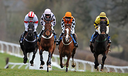 Runners make their way down the home straight during the Red Berry Recruitment Ltd Handicap Hurdle (Class 5) (4YO plys) - Photo mandatory by-line: Harry Trump/JMP - Mobile: 07966 386802 - 09/03/15 - SPORT - Equestrian - Horse Racing - Taunton Racing - Taunton Racecourse, Somerset, England.