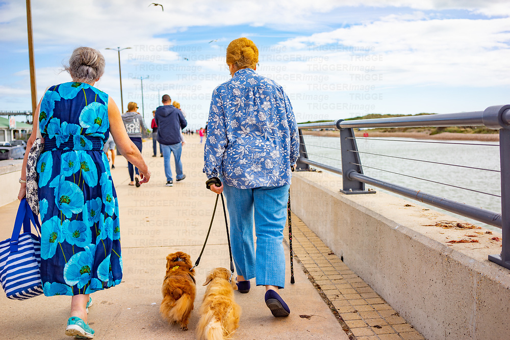 Two elderly ladies walking two dashund dogs in the summer wearing floral clothes