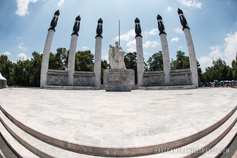 The Altar a la Patria in Basque de Chapultepec, a large and popular public park in the center of Mexico City. The monument contains the remains of the Niños Héroes and General Felipe Santiago Xicoténcatl. It was designed by sculptor Ernesto Tamariz and Arq. Enrique Aragon E and inaugurated on September 27, 1952. On the site are held civic ceremonies and formal visits of leaders of other countries usually leave wreaths as a tribute to the history of Mexico.
