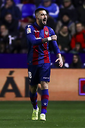 January 10, 2019 - Valencia, Spain - Levante's defender Erick Cathriel Cabaco celebrate after scoring the 1-0 goal during  spanish King Cup  match between Levante UD v FC Barcelona  at Ciutat de Valencia  Stadium on January  10, 2018. (Photo by Jose Miguel Fernandez/NurPhoto) (Credit Image: © Jose Miguel Fernandez/NurPhoto via ZUMA Press)