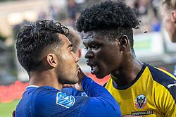 Gemytterne i kog hos Rezan Corlu (Lyngby Boldklub) og Emmanuel Sabbi (Hobro IK) under kampen i 3F Superligaen mellem Lyngby Boldklub og Hobro IK den 20. juli 2020 på Lyngby Stadion (Foto: Claus Birch).