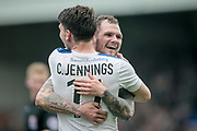 Connor Jennings (Tranmere Rovers) and James Norwood (Tranmere Rovers) celebrate scoring a goal to make it 2-2 and 5-2 on aggregate in the final seconds of injury time to put Tranmere through to the final of the National League play offs during the Vanarama National League second leg play off match between Tranmere Rovers and Aldershot Town at Prenton Park, Birkenhead, England on 6 May 2017. Photo by Mark P Doherty.