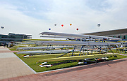 Chungju, South Korea. General Views Boathouse, and other buildings, 2013 FISA World Rowing Championships,  at the Tangeum Lake International Regatta Course. 11:37:30  Saturday  24/08/2013 [Mandatory Credit. Peter Spurrier/Intersport Images]